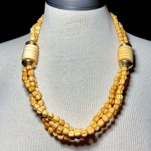 Vintage Multi Strand Bone Chunky Bead Necklace